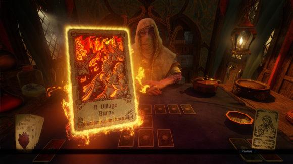 Hand of Fate 2 und das brennende Dorf (Quelle: defiantdev.com)