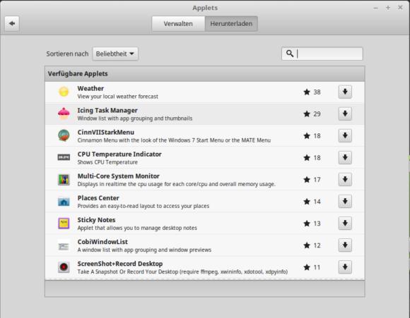 Linux Mint mit Applets würzen