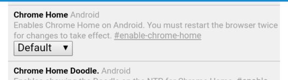Chrome Home ist per Standard deaktiviert