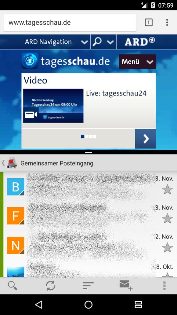 Nexus 5X und der Split-Screen