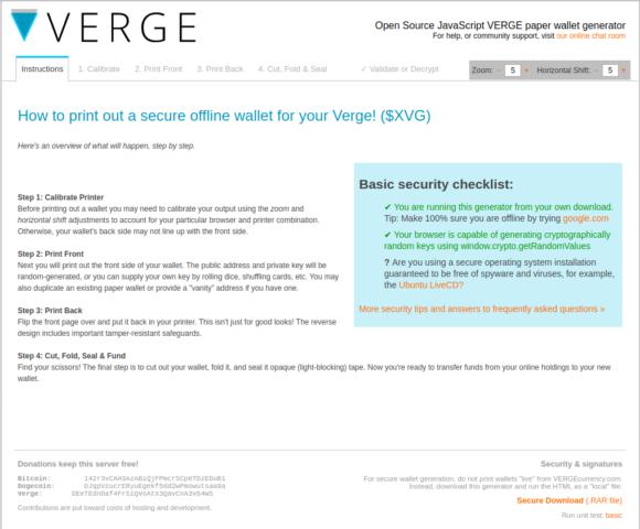 Anleitung für eine Verge Paper Wallet