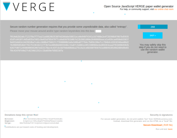 Verge Papier-Wallet anlegen