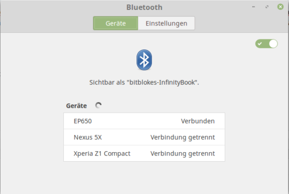 Kopfhörer EP650 via Bluetooth verbunden