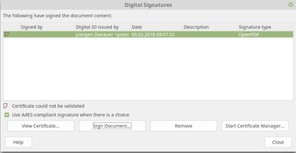 Dokument unterzeichnet