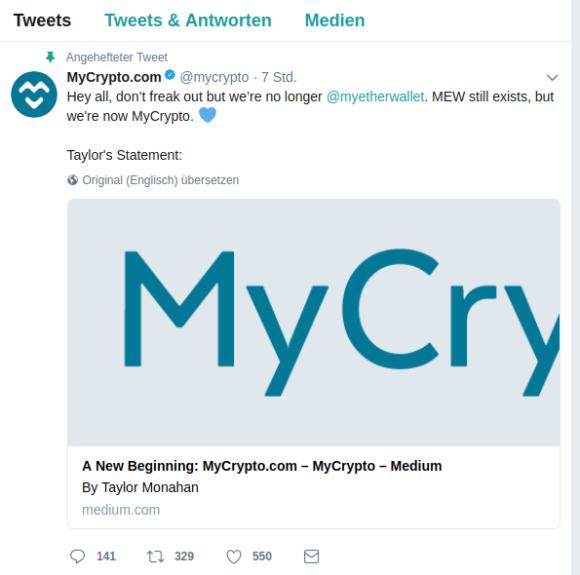 MyCrypto scheint echt zu sein
