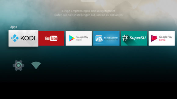 Android TV Startbildschirm
