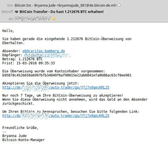 Phishing nach Bitcoin