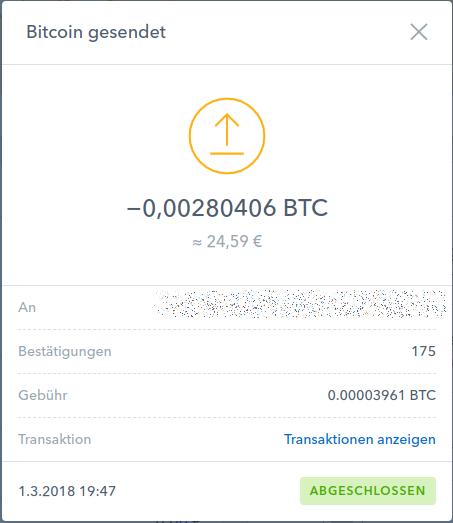 Transaktionsgebühr von Bitcoin