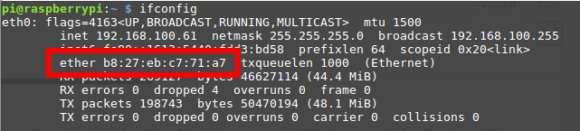 Du findest die MAC-Adresse Deines Pi über den Befehl ifconfig heraus