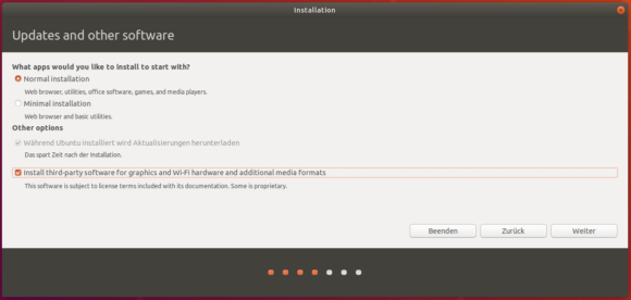 Ubuntu 18.04 LTS Desktop mit der Option einer minimalen Installation