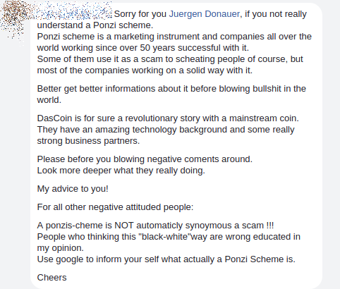 DasCoin nutzt Ponzi-System für Werbezwecke!