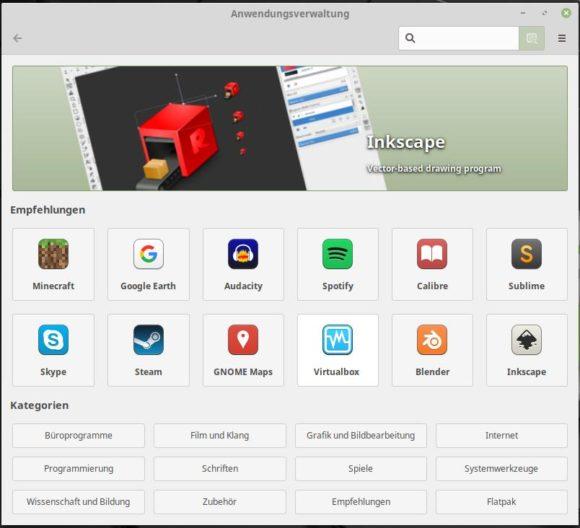 Anwendungsverwaltung mit Unterstützung für Flatpack