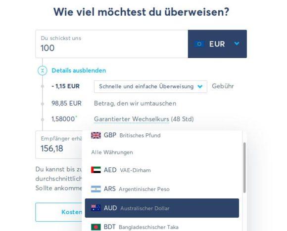 Transferwise unterstützt viel mehr Währungen und ist viel günstiger als andere