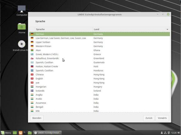 LMDE 3 lässt sich sehr einfach via debian Installer einspielen