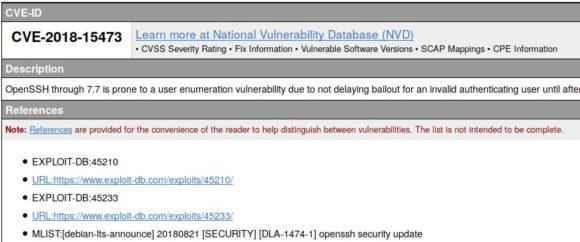 Die neueste Sicherheitslücke on OpenSSH ist CVE-2018-15473