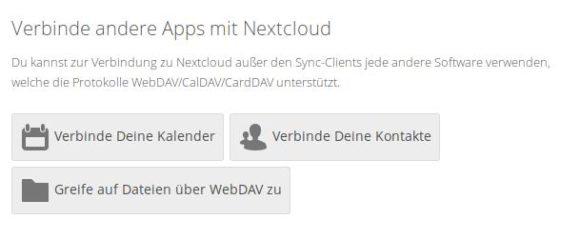 So verbindest Du Kalender, Kontakte und WebDAV mit Nextcloud