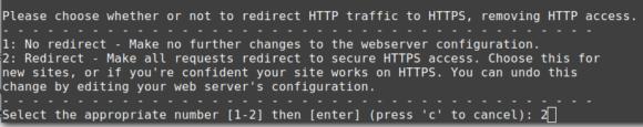 Ich überlasse certobo die Konfiguration der Umleitung auf HTTPS