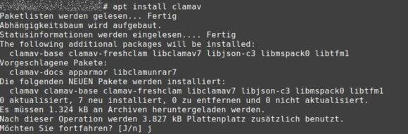 Virescanner ClamAV und Freshclam installieren