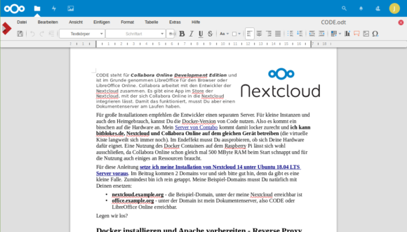 LibreOffice Online Writer in der Nextcloud integriert