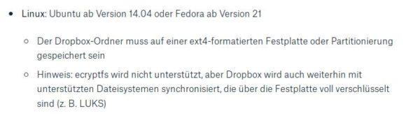 Ext4 wird Dropbox unterstützen, ecryptfs aber nicht.