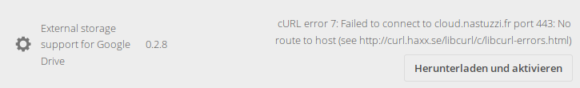 App für die Einbindung von Google Drive ist nicht verfügbar