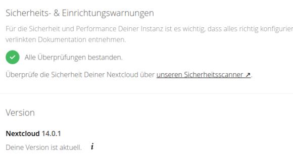 Alles in Ordnung und Nextcloud 14.0.1 läuft wie geschmiert