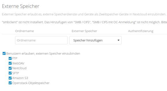 Nextcloud - Unterstützung für externe Speicher: FTP Client, WebDAV, Nextcloud, SFTP, Amazon S3, Openstack-Objektspeicher