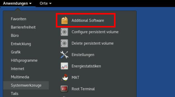 Additional Software in Tails 3.9