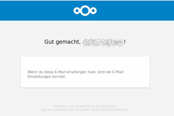 Das Test-E-Mail ist angekommen