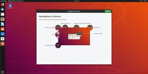 Ubuntu 18.10 Cosmic Cuttlefish in einer vernünftigen Auflösung
