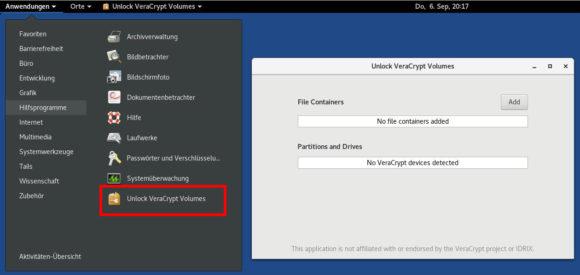 Die Entwickler haben VeraCrypt in Tails 3.9 integriert
