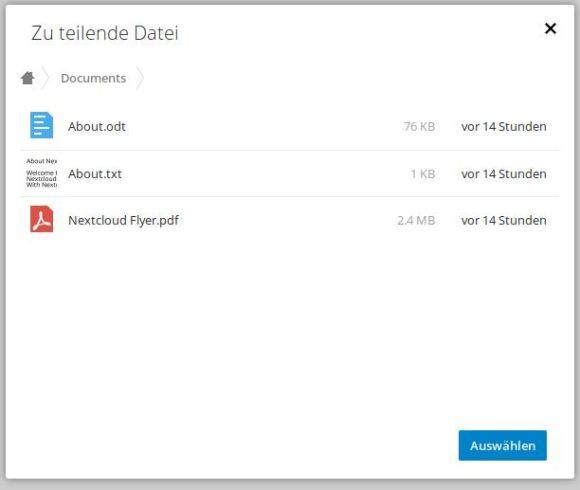 Nextcloud Talk 4.0: Im Chat zu teilende Datei