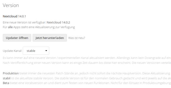 Nextcloud 14.0.2 ist verfügbar - Update ist einfach