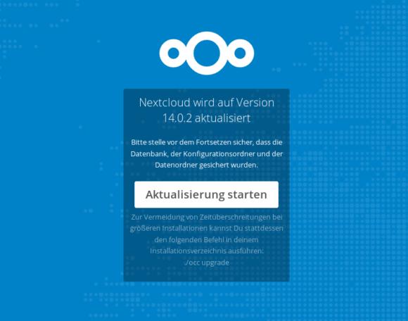 Die eigentliche Aktualisierung auf Nextcloud 14.0.2 starten