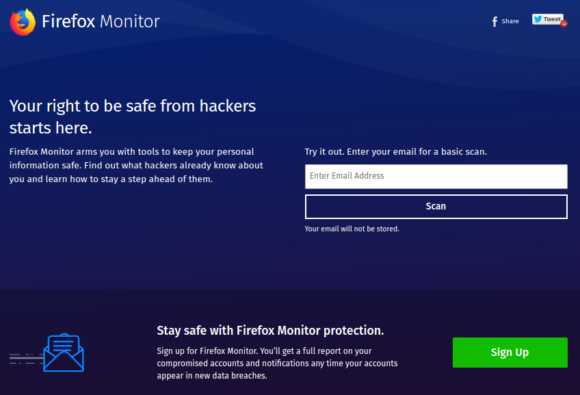 Firefox Monitor informiert, wenn Du gehackt wurdest