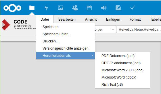 Datei in verschiedenen Formaten herunterladen