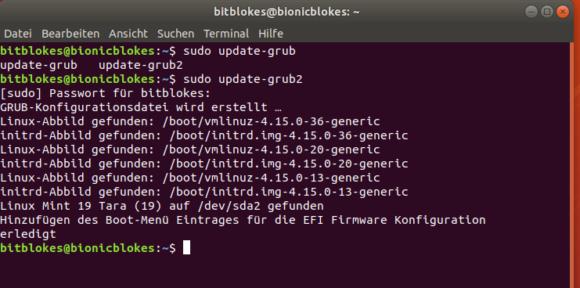 Ein sudo upgrade-grup2 findet dann auch Linux Mint 19 Tara wieder