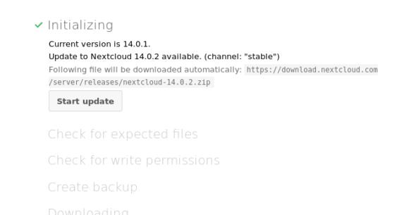 Update auf Nextcloud 14.0.2 starten