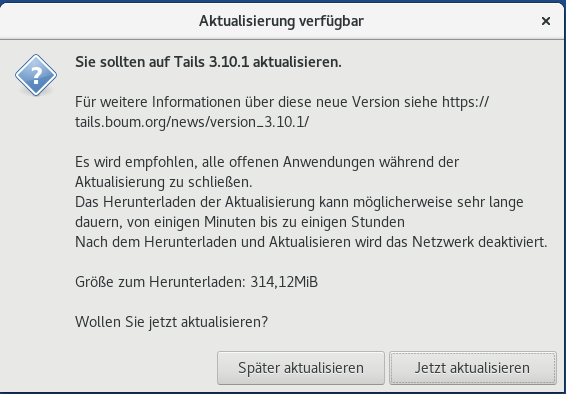 Tails 3.10.1 als automatisches Upgrade