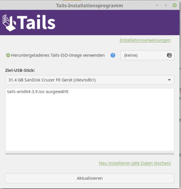 Tails Installer - einfacher geht es fast schon nicht mehr