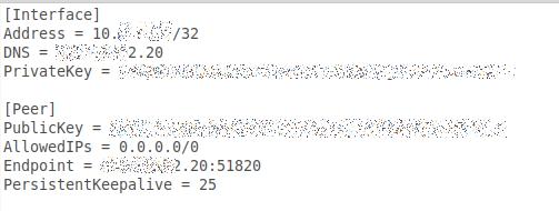Konfigurationsdatei für WireGuard