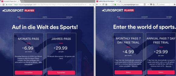 Eurosport globaler Preisunterschied