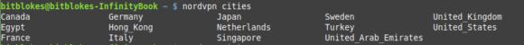 Städte-Liste von NordVPN Linux-Client 2.0.0