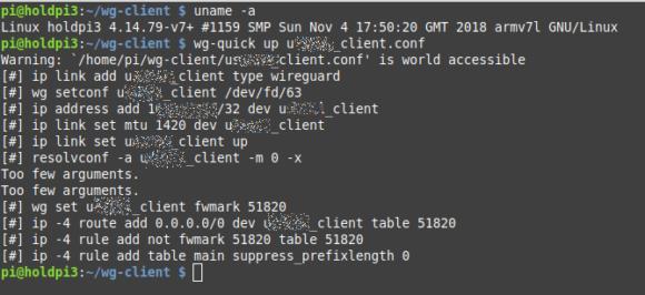 Raspberry Pi mit WireGuard verbunden