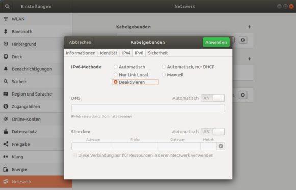 Ubuntu IPv6 deaktivieren