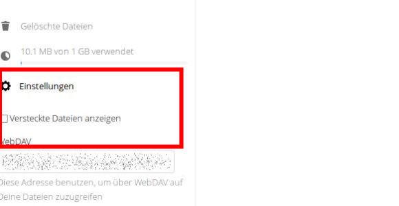 Der richtige Link für das Einbinden von WebDAV ist unten links zu finden