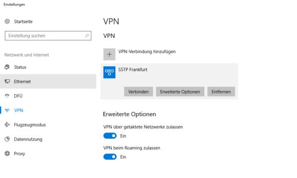 Windows SSTP einrichten & SSTP eingerichtet
