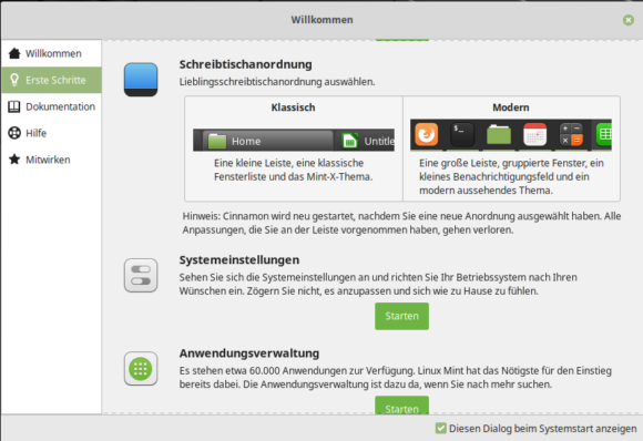 Linux Mint 19.1 Tessa heißt DIch Herzlich Willkommen