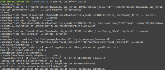 Linux MINT 19 PIA Manager installieren Terminal
