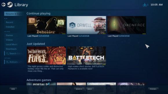 Spiele-Bibliothek aufgerufen